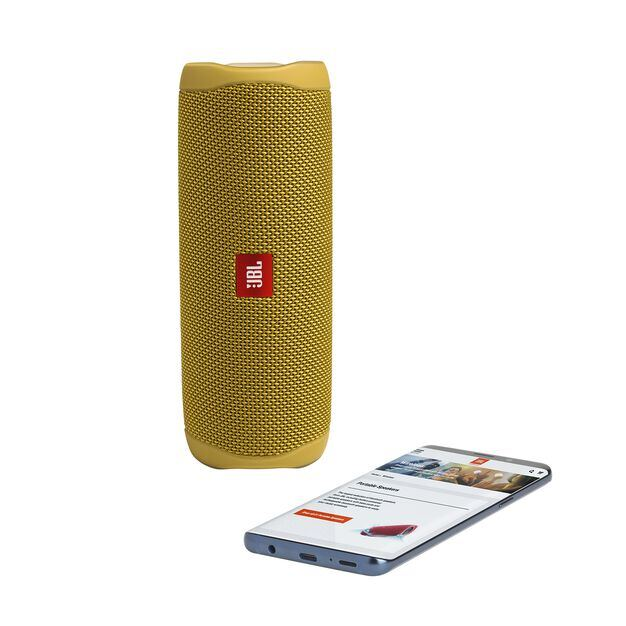 JBL FLIP 5 - Mustard Yellow - Portable Waterproof Speaker - Detailshot 2