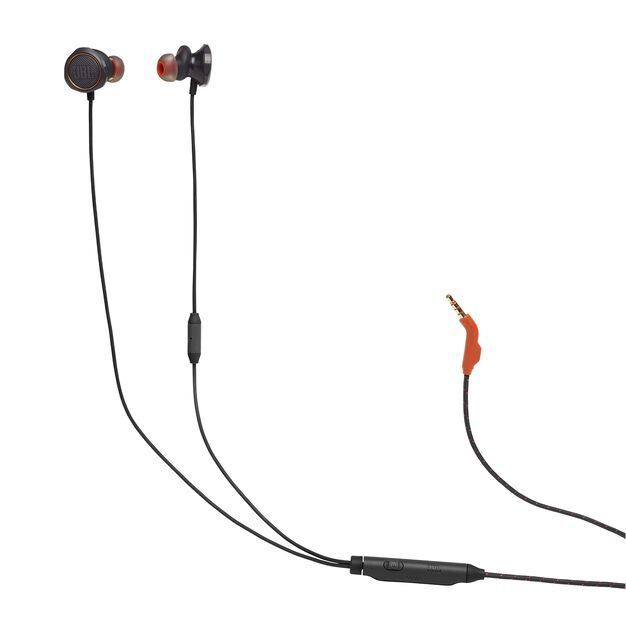 JBL Quantum 50 - Black - Wired in-ear gaming headset with volume slider and mic mute - Hero